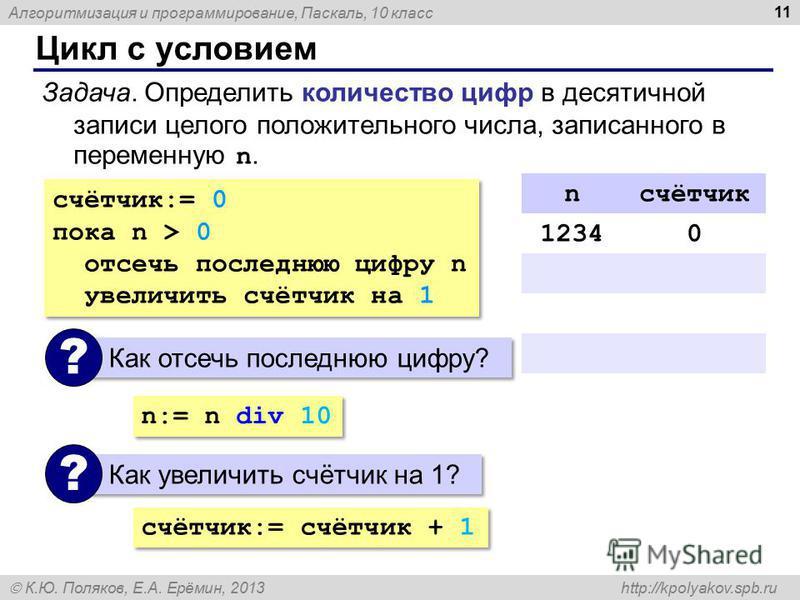 Алгоритмизация и программирование, Паскаль, 10 класс К.Ю. Поляков, Е.А. Ерёмин, 2013 http://kpolyakov.spb.ru Цикл с условием 11 Задача. Определить количество цифр в десятичной записи целого положительного числа, записанного в переменную n. счётчик:=