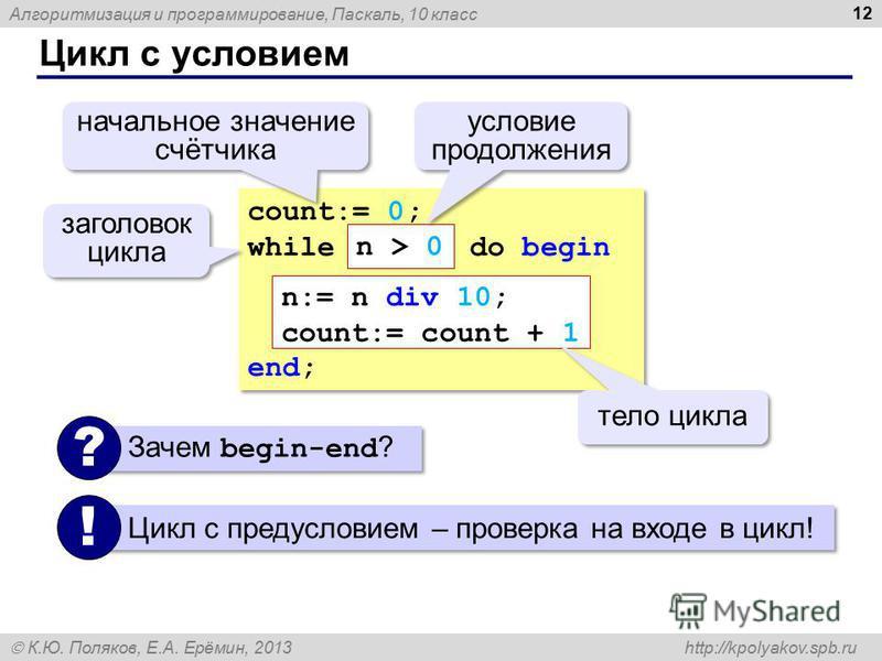 Алгоритмизация и программирование, Паскаль, 10 класс К.Ю. Поляков, Е.А. Ерёмин, 2013 http://kpolyakov.spb.ru Цикл с условием 12 count:= 0; while do begin end; count:= 0; while do begin end; n:= n div 10; count:= count + 1 тело цикла начальное значени