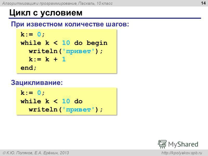 Алгоритмизация и программирование, Паскаль, 10 класс К.Ю. Поляков, Е.А. Ерёмин, 2013 http://kpolyakov.spb.ru Цикл с условием 14 k:= 0; while k < 10 do begin writeln('привет'); k:= k + 1 end; k:= 0; while k < 10 do begin writeln('привет'); k:= k + 1 e