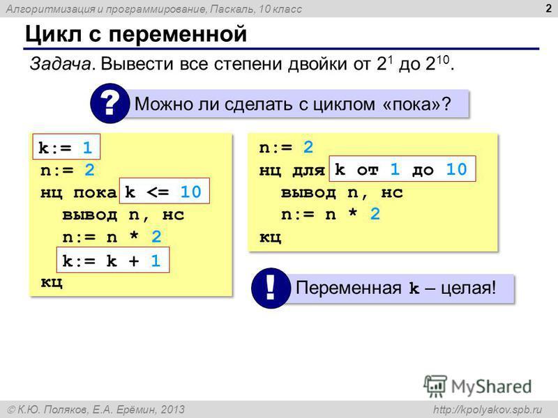 Алгоритмизация и программирование, Паскаль, 10 класс К.Ю. Поляков, Е.А. Ерёмин, 2013 http://kpolyakov.spb.ru Цикл с переменной 2 Задача. Вывести все степени двойки от 2 1 до 2 10. Можно ли сделать с циклом «пока»? ? n:= 2 нц пока вывод n, нс n:= n *
