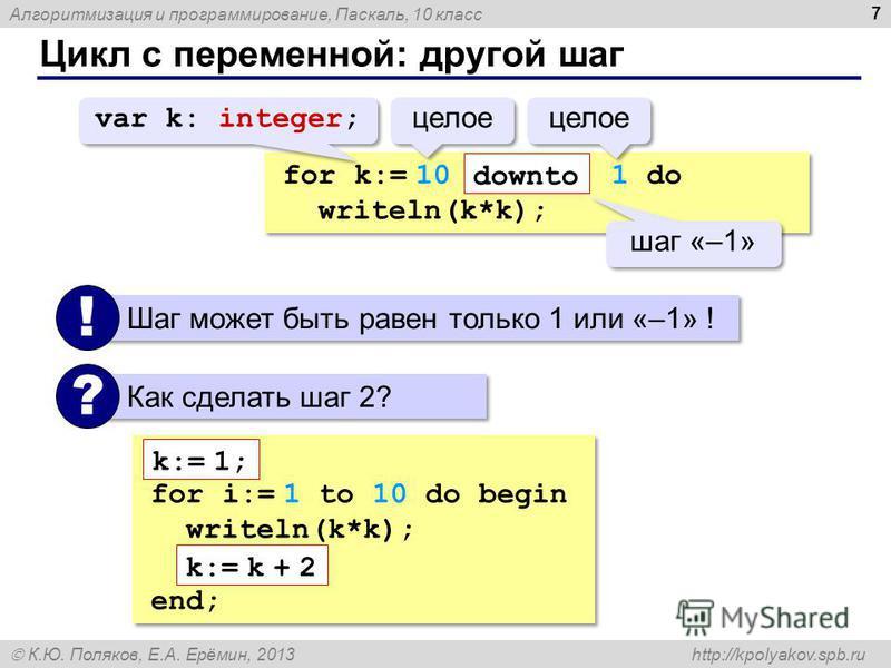 Алгоритмизация и программирование, Паскаль, 10 класс К.Ю. Поляков, Е.А. Ерёмин, 2013 http://kpolyakov.spb.ru Цикл с переменной: другой шаг 7 for k:= 10 1 do writeln(k*k); for k:= 10 1 do writeln(k*k); downto var k: integer; целое шаг «–1» Шаг может б
