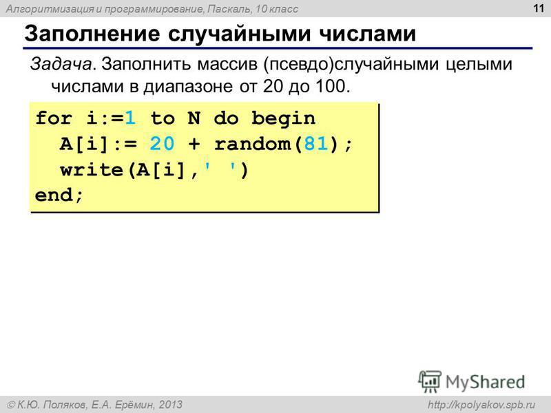 Алгоритмизация и программирование, Паскаль, 10 класс К.Ю. Поляков, Е.А. Ерёмин, 2013 http://kpolyakov.spb.ru Заполнение случайными числами 11 for i:=1 to N do begin A[i]:= 20 + random(81); write(A[i],' ') end; for i:=1 to N do begin A[i]:= 20 + rando