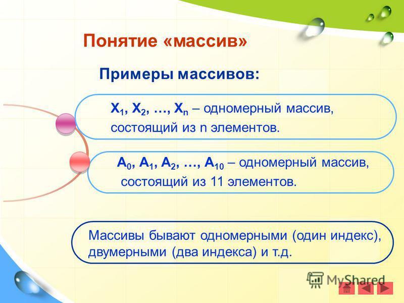 Примеры массивов: Понятие «массив» Х 1, Х 2, …, Х n – одномерный массив, состоящий из n элементов. А 0, А 1, А 2, …, А 10 – одномерный массив, состоящий из 11 элементов. Массивы бывают одномерными (один индекс), двумерными (два индекса) и т.д.