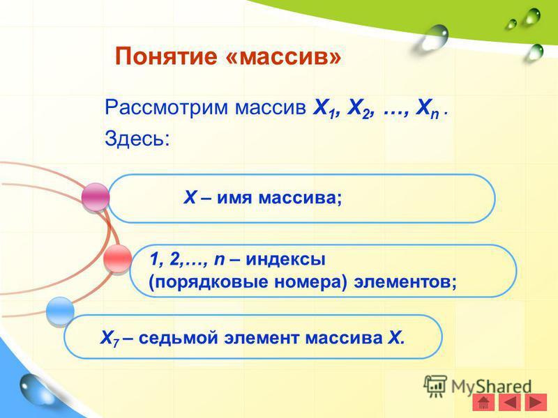Рассмотрим массив Х 1, Х 2, …, Х n. Здесь: Понятие «массив» Х – имя массива; 1, 2,…, n – индексы (порядковые номера) элементов; Х 7 – седьмой элемент массива Х.