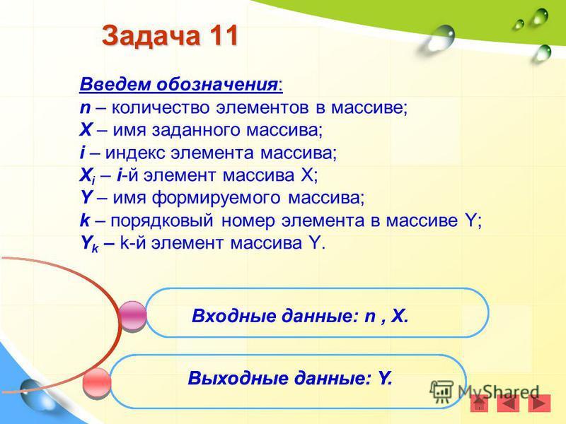 Задача 11 Введем обозначения: n – количество элементов в массиве; X – имя заданного массива; i – индекс элемента массива; X i – i-й элемент массива Х; Y – имя формируемого массива; k – порядковый номер элемента в массиве Y; Y k – k-й элемент массива