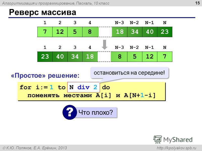 Алгоритмизация и программирование, Паскаль, 10 класс К.Ю. Поляков, Е.А. Ерёмин, 2013 http://kpolyakov.spb.ru Реверс массива 15 1234N-3N-2N-1N 7125818344023 1234N-3N-2N-1N 2340341885127 «Простое» решение: for i:= 1 to N do поменять местами A[i] и A[N+