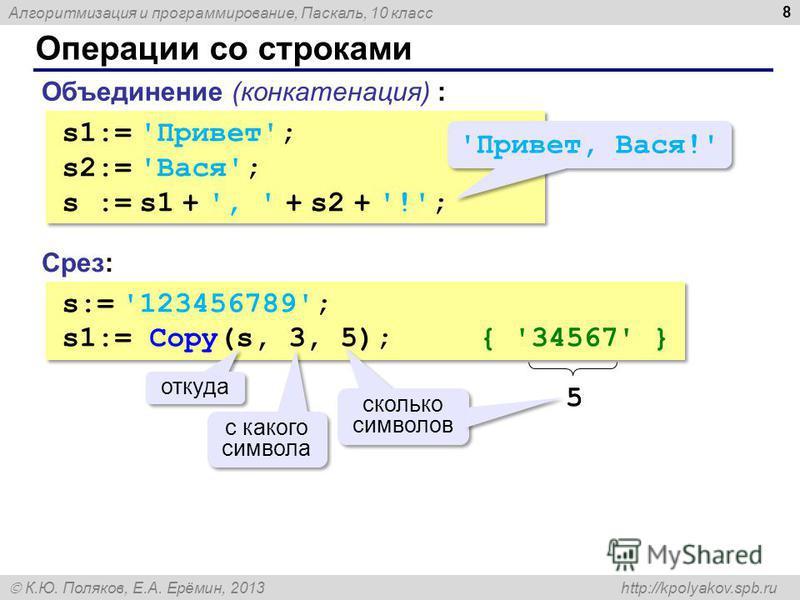 Алгоритмизация и программирование, Паскаль, 10 класс К.Ю. Поляков, Е.А. Ерёмин, 2013 http://kpolyakov.spb.ru Операции со строками 8 Объединение (конкатенация) : s1:= 'Привет'; s2:= 'Вася'; s := s1 + ', ' + s2 + '!'; s1:= 'Привет'; s2:= 'Вася'; s := s