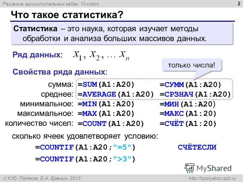 Решение вычислительных задач, 10 класс К.Ю. Поляков, Е.А. Ерёмин, 2013 http://kpolyakov.spb.ru Что такое статистика? 2 Статистика – это наука, которая изучает методы обработки и анализа больших массивов данных. Ряд данных: сумма: среднее: минимальное