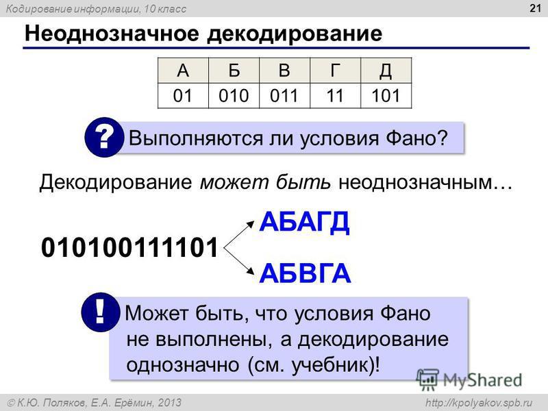 Кодирование информации, 10 класс К.Ю. Поляков, Е.А. Ерёмин, 2013 http://kpolyakov.spb.ru Неоднозначное декодирование 21 АБВГД 0101001111101 АБАГД АБВГА 010100111101 Выполняются ли условия Фано? ? Декодирование может быть неоднозначным… Может быть, чт