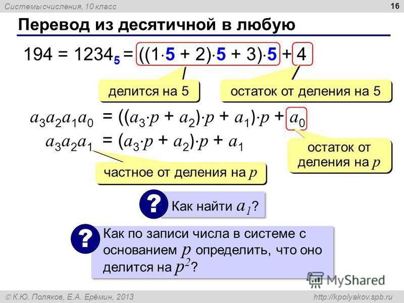 Системы счисления, 10 класс К.Ю. Поляков, Е.А. Ерёмин, 2013 http://kpolyakov.spb.ru Перевод из десятичной в любую 16 194 = 1234 5 = ((1 5 + 2) 5 + 3) 5 + 4 делится на 5 остаток от деления на 5 a 3 a 2 a 1 a 0 = (( a 3 p + a 2 ) p + a 1 ) p + a 0 оста