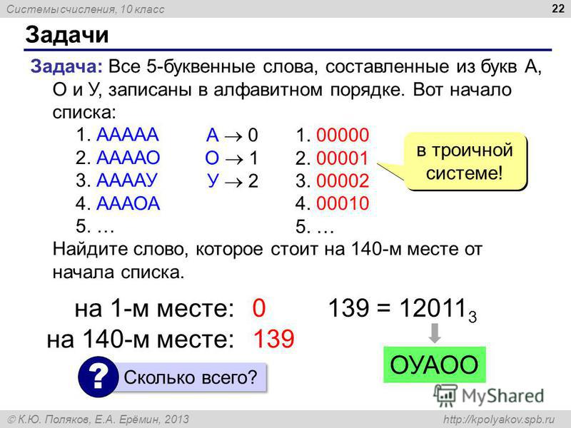 Системы счисления, 10 класс К.Ю. Поляков, Е.А. Ерёмин, 2013 http://kpolyakov.spb.ru Задачи 22 Задача: Все 5-буквенные слова, составленные из букв А, О и У, записаны в алфавитном порядке. Вот начало списка: 1. ААААА 2. ААААО 3. ААААУ 4. АААОА 5. … Най