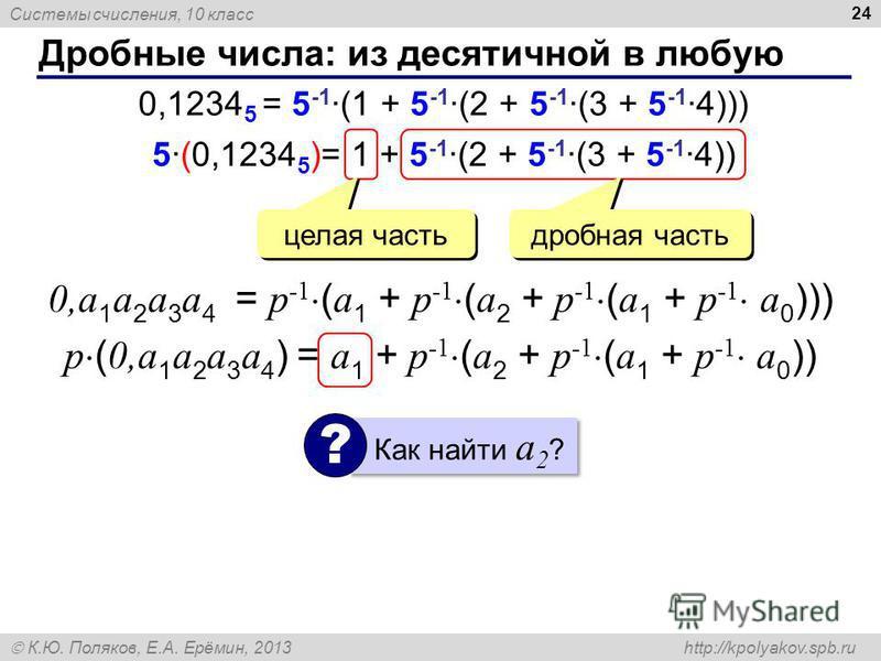 Системы счисления, 10 класс К.Ю. Поляков, Е.А. Ерёмин, 2013 http://kpolyakov.spb.ru Дробные числа: из десятичной в любую 24 0,1234 5 = 5 -1 ·(1 + 5 -1 ·(2 + 5 -1 ·(3 + 5 -1 ·4))) 5·(0,1234 5 )= 1 + 5 -1 ·(2 + 5 -1 ·(3 + 5 -1 ·4)) целая часть дробная