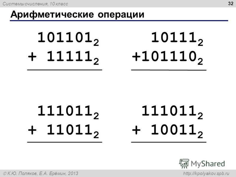 Системы счисления, 10 класс К.Ю. Поляков, Е.А. Ерёмин, 2013 http://kpolyakov.spb.ru Арифметические операции 32 101101 2 + 11111 2 10111 2 +101110 2 111011 2 + 10011 2 111011 2 + 11011 2