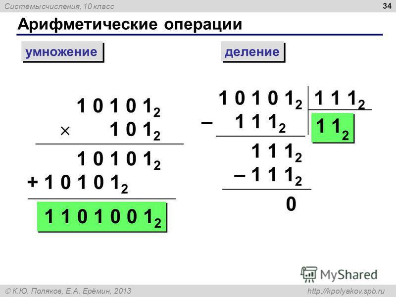 Системы счисления, 10 класс К.Ю. Поляков, Е.А. Ерёмин, 2013 http://kpolyakov.spb.ru Арифметические операции 34 умножение деление 1 0 1 0 1 2 1 0 1 2 1 0 1 0 1 2 + 1 0 1 0 1 2 1 1 0 1 0 0 1 2 1 0 1 0 1 2 – 1 1 1 2 1 1 1 2 11 2 – 1 1 1 2 0