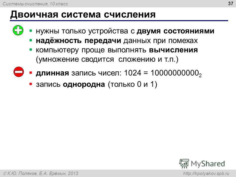 Системы счисления, 10 класс К.Ю. Поляков, Е.А. Ерёмин, 2013 http://kpolyakov.spb.ru Двоичная система счисления 37 длинная запись чисел: 1024 = 10000000000 2 запись однородна (только 0 и 1) нужны только устройства с двумя состояниями надёжность переда