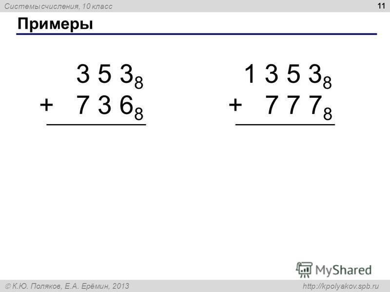 Системы счисления, 10 класс К.Ю. Поляков, Е.А. Ерёмин, 2013 http://kpolyakov.spb.ru Примеры 11 3 5 3 8 + 7 3 6 8 1 3 5 3 8 + 7 7 7 8