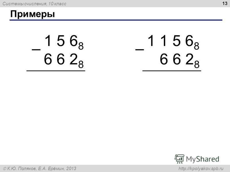 Системы счисления, 10 класс К.Ю. Поляков, Е.А. Ерёмин, 2013 http://kpolyakov.spb.ru Примеры 13 1 5 6 8 6 6 2 8 – 1 1 5 6 8 6 6 2 8 –