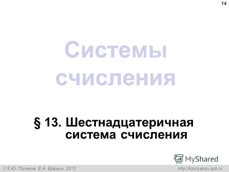 К.Ю. Поляков, Е.А. Ерёмин, 2013 http://kpolyakov.spb.ru Системы счисления § 13. Шестнадцатеричная система счисления 14