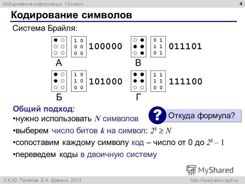 Кодирование информации, 10 класс К.Ю. Поляков, Е.А. Ерёмин, 2013 http://kpolyakov.spb.ru Кодирование символов 4 А Б В Г 10 00 00 10 10 00 100000 101000 01 11 01 11 11 00 011101 111100 Общий подход: нужно использовать N символов выберем число битов k