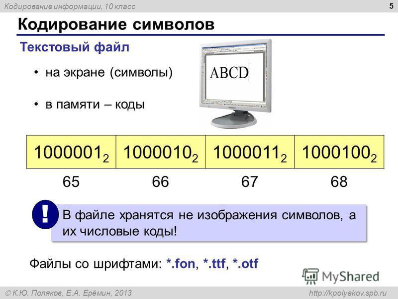 Кодирование информации, 10 класс К.Ю. Поляков, Е.А. Ерёмин, 2013 http://kpolyakov.spb.ru Кодирование символов 5 Текстовый файл на экране (символы) в памяти – коды 1000001 2 1000010 2 1000011 2 1000100 2 В файле хранятся не изображения символов, а их