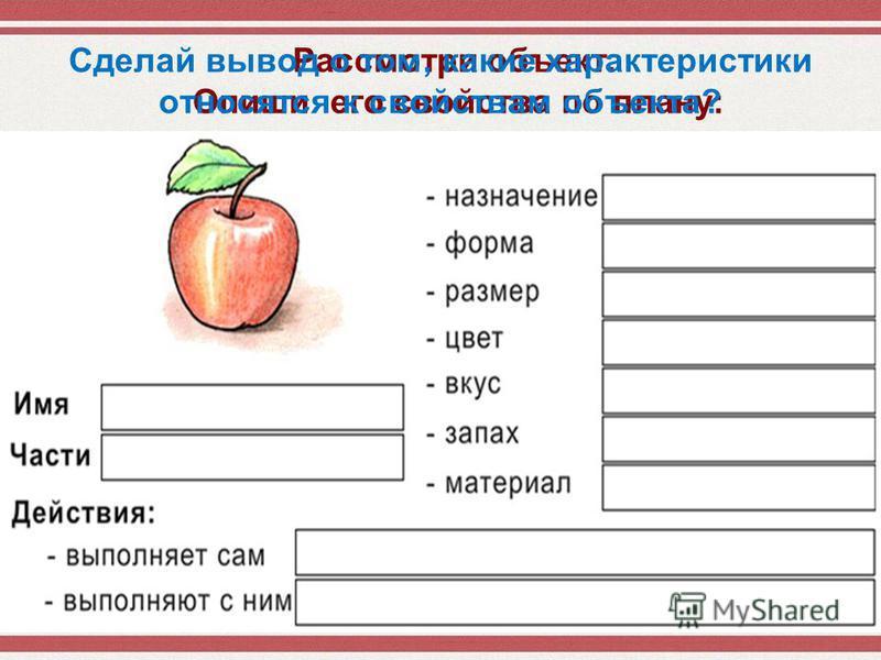 Рассмотри объект. Опиши его свойства по плану: Сделай вывод о том, какие характеристики относятся к свойствам объекта?