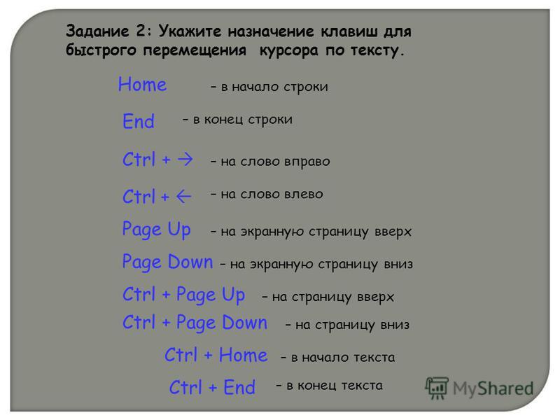 Задание 2: Укажите назначение клавиш для быстрого перемещения курсора по тексту. Ctrl + End Home – в начало строки End – в конец строки Ctrl + – на слово вправо Ctrl + – на слово влево Page Up – на экранную страницу вверх Page Down – на экранную стра