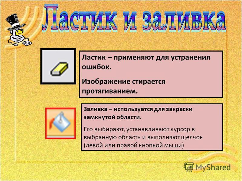 Заливка – используется для закраски замкнутой области. Его выбирают, устанавливают курсор в выбранную область и выполняют щелчок (левой или правой кнопкой мыши) Ластик – применяют для устранения ошибок. Изображение стирается протягиванием.