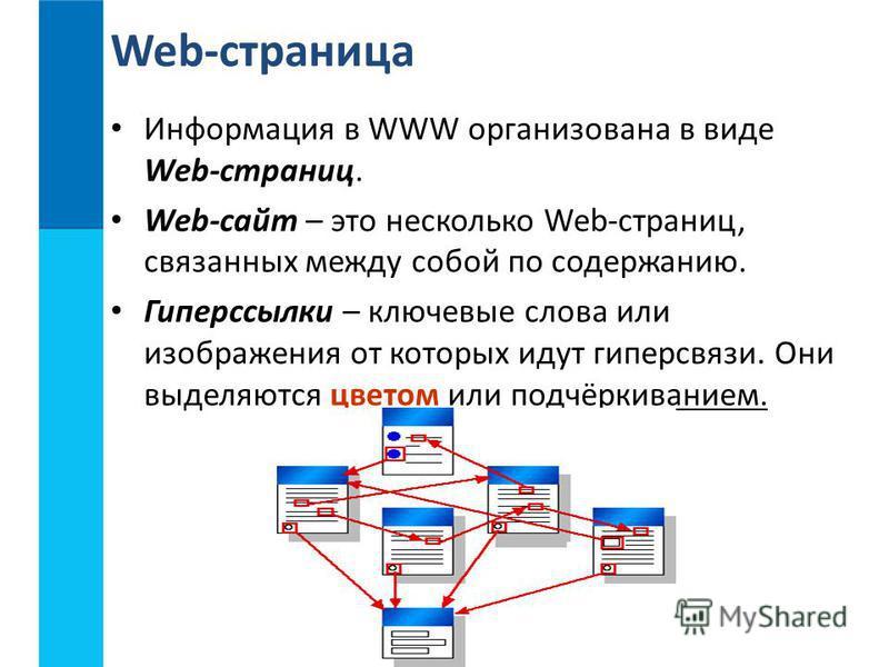 Информация в WWW организована в виде Web-страниц. Web-сайт – это несколько Web-страниц, связанных между собой по содержанию. Гиперссылки – ключевые слова или изображения от которых идут гиперсвязи. Они выделяются цветом или подчёркиванием. Web-страни