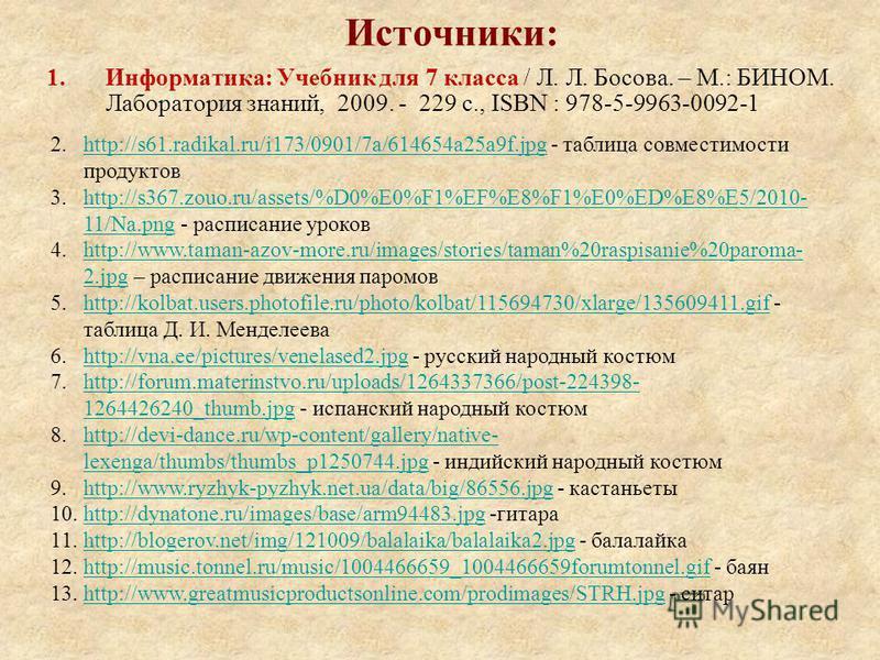 Источники: 1.Информатика: Учебник для 7 класса / Л. Л. Босова. – М.: БИНОМ. Лаборатория знаний, 2009. - 229 с., ISBN : 978-5-9963-0092-1 2.http://s61.radikal.ru/i173/0901/7a/614654a25a9f.jpg - таблица совместимости продуктовhttp://s61.radikal.ru/i173