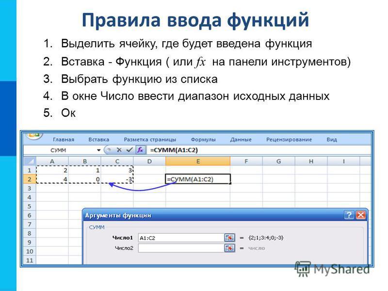 Правила ввода функций 1. Выделить ячейку, где будет введена функция 2. Вставка - Функция ( или fx на панели инструментов) 3. Выбрать функцию из списка 4. В окне Число ввести диапазон исходных данных 5. Ок