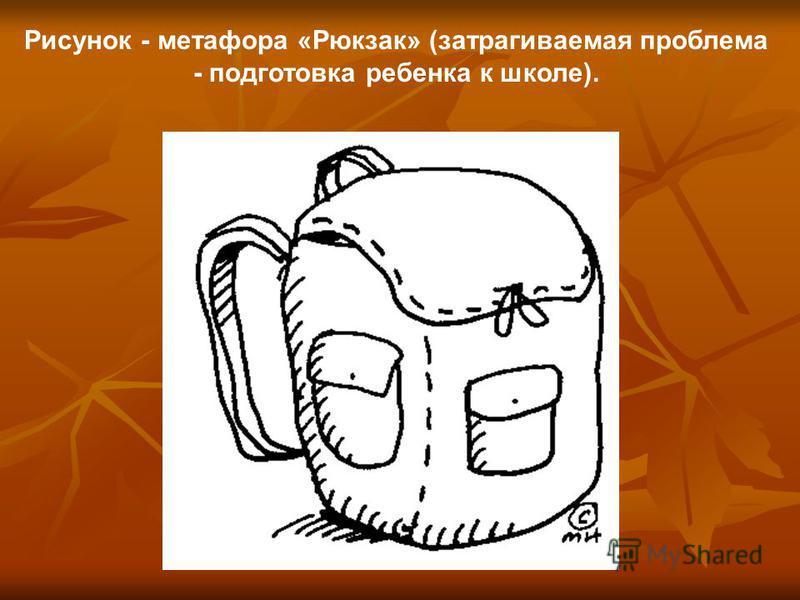 Рисунок - метафора «Рюкзак» (затрагиваемая проблема - подготовка ребенка к школе).