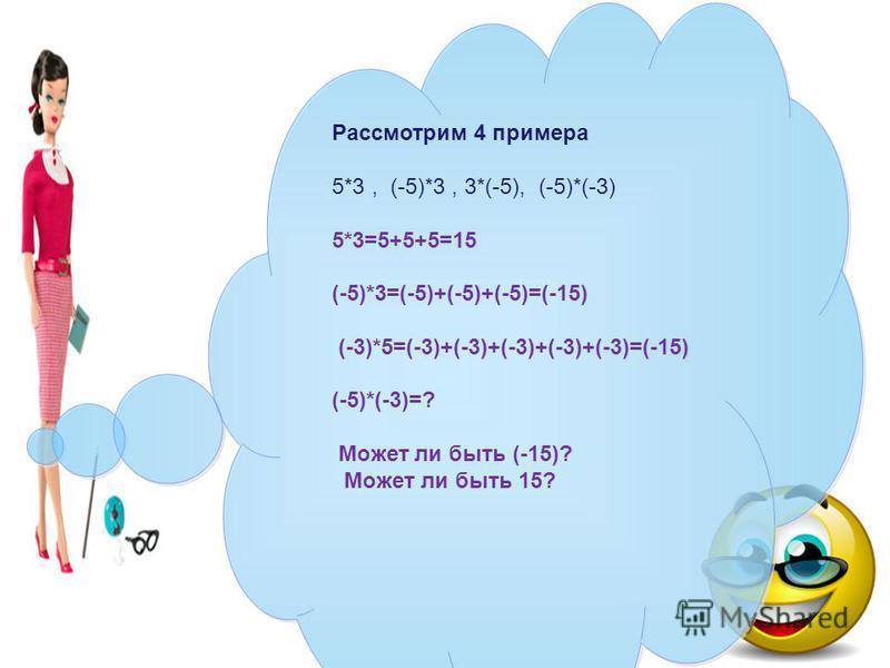 Рассмотрим 4 примера 5*3, (-5)*3, 3*(-5), (-5)*(-3) 5*3=5+5+5=15 (-5)*3=(-5)+(-5)+(-5)=(-15) (-3)*5=(-3)+(-3)+(-3)+(-3)+(-3)=(-15) (-5)*(-3)=? Может ли быть (-15)? Может ли быть 15? Рассмотрим 4 примера 5*3, (-5)*3, 3*(-5), (-5)*(-3) 5*3=5+5+5=15 (-5