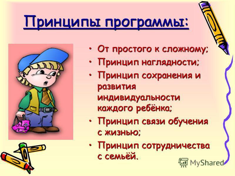 Принципы программы: От простого к сложному;От простого к сложному; Принцип наглядности;Принцип наглядности; Принцип сохранения и развития индивидуальности каждого ребёнка;Принцип сохранения и развития индивидуальности каждого ребёнка; Принцип связи о