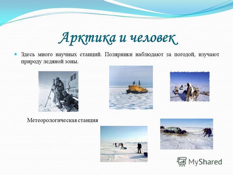 Арктика и человек Здесь много научных станций. Полярники наблюдают за погодой, изучают природу ледяной зоны. Метеорологическая станция