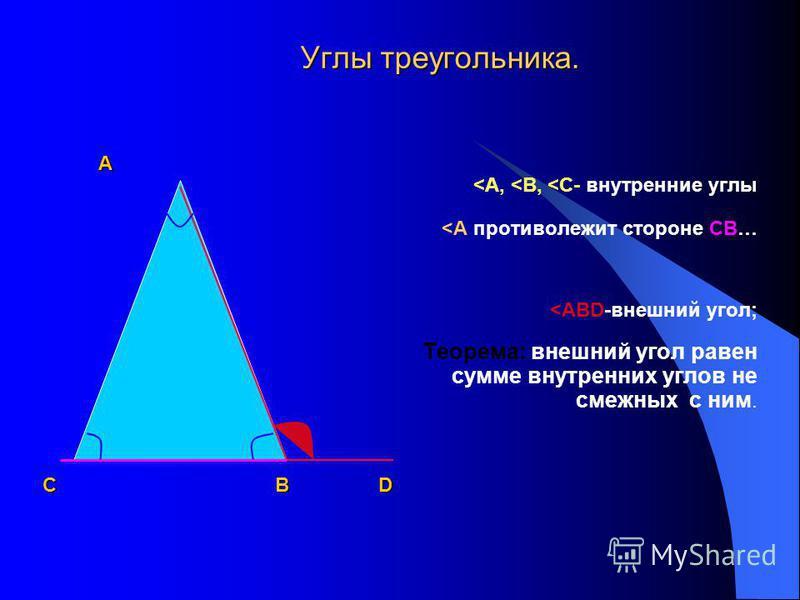 Треугольником также называется часть плоскости ограниченная отрезками АВ, ВС, АС. А С В А, В, С – вершины. АВ, ВС, СА-стороны. <АВС, <ВСА, <САВ-углы треугольника,(<А,< В, <С или α, β, γ ).