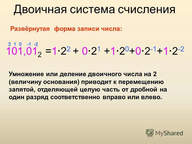 Двоичная система счисления 101,01 2 =1 2 2 + 0 2 1 +1 2 0 +0 2 -1 +1 2 -2 2 1 0 -1 -2 Развёрнутая форма записи числа: Умножение или деление двоичного числа на 2 (величину основания) приводит к перемещению запятой, отделяющей целую часть от дробной на