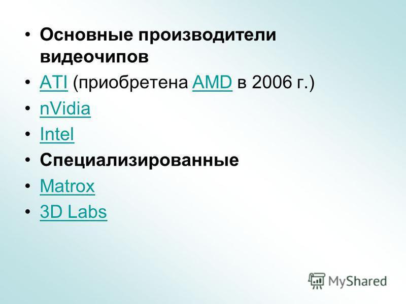 Основные производители видеочипов ATI (приобретена AMD в 2006 г.)ATIAMD nVidia Intel Специализированные Matrox 3D Labs