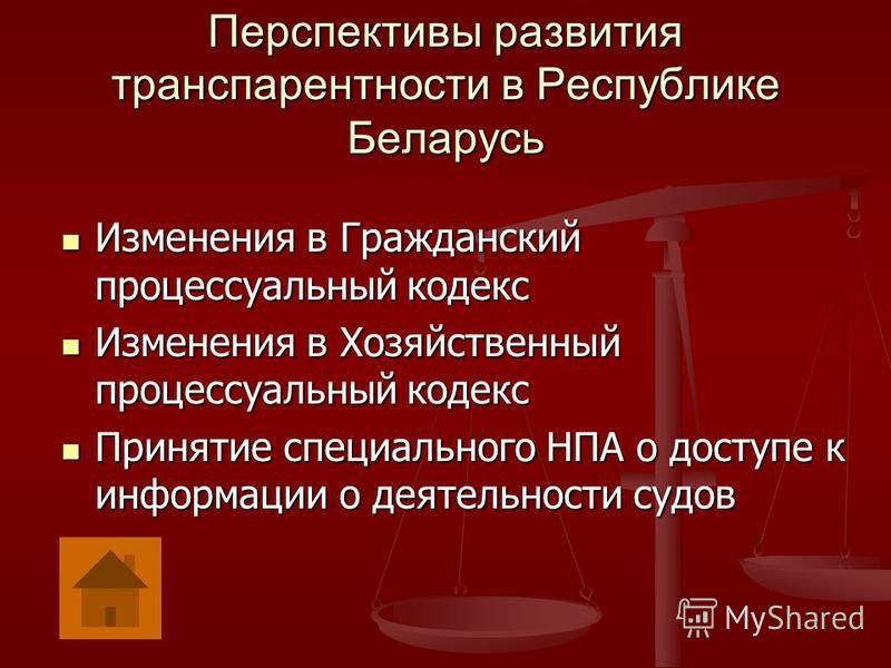 Перспективы развития транспарентности в Республике Беларусь Изменения в Гражданский процессуальный кодекс Изменения в Гражданский процессуальный кодекс Изменения в Хозяйственный процессуальный кодекс Изменения в Хозяйственный процессуальный кодекс Пр