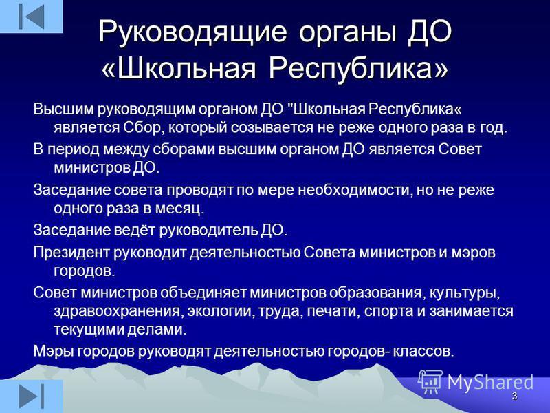 3 Руководящие органы ДО «Школьная Республика» Высшим руководящим органом ДО