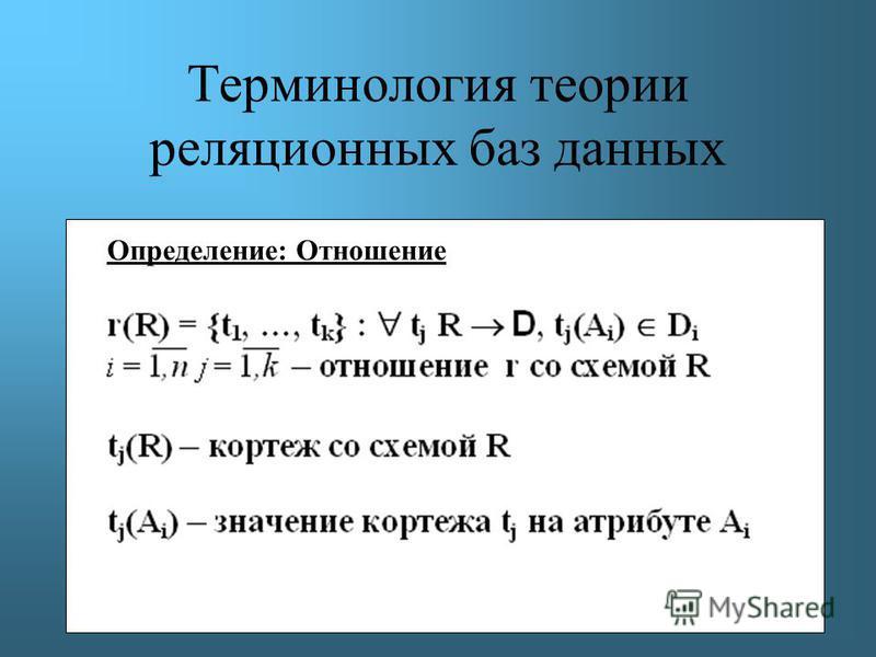Терминология теории реляционных баз данных Определение: Отношение