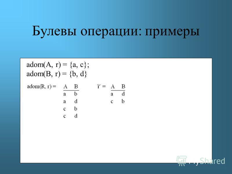 Булевы операции: примеры adom(A, r) = {a, c}; adom(B, r) = {b, d}