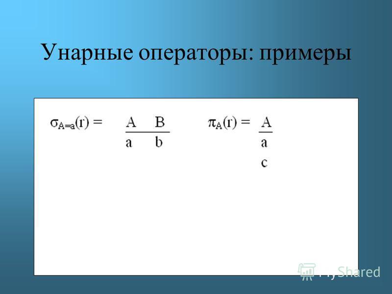 Унарные операторы: примеры
