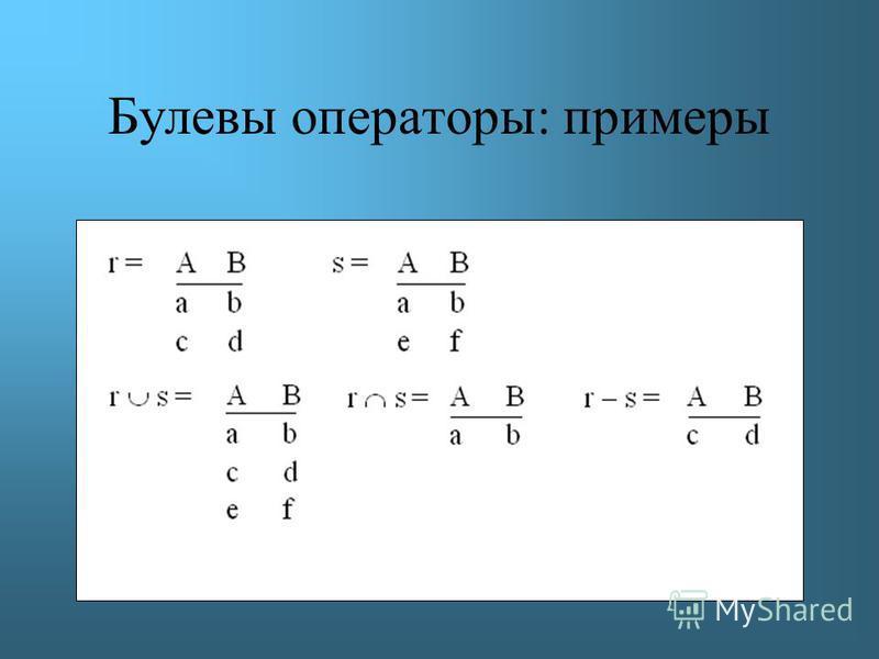 Булевы операторы: примеры