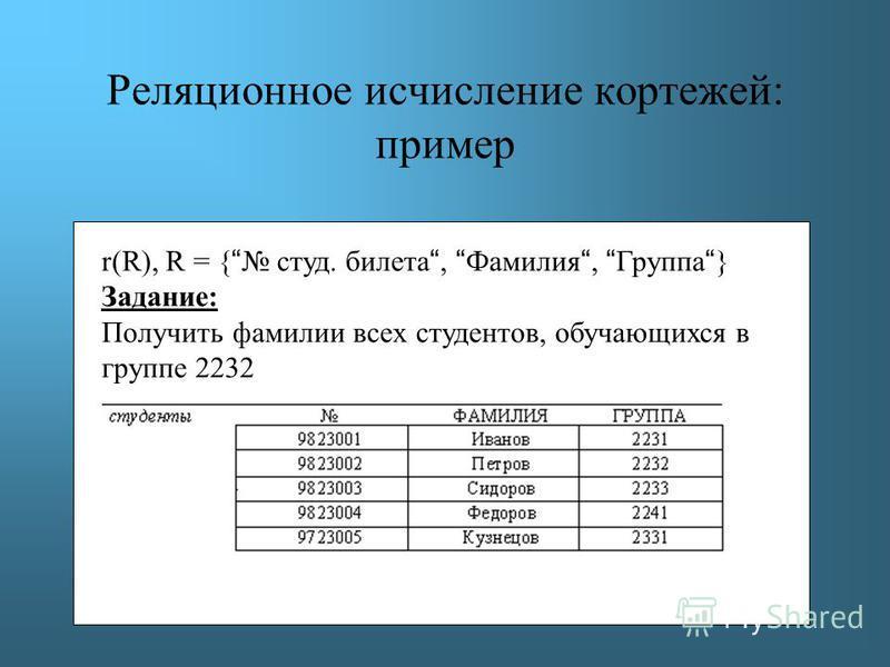 Реляционное исчисление кортежей: пример r(R), R = { студ. билета, Фамилия, Группа } Задание: Получить фамилии всех студентов, обучающихся в группе 2232