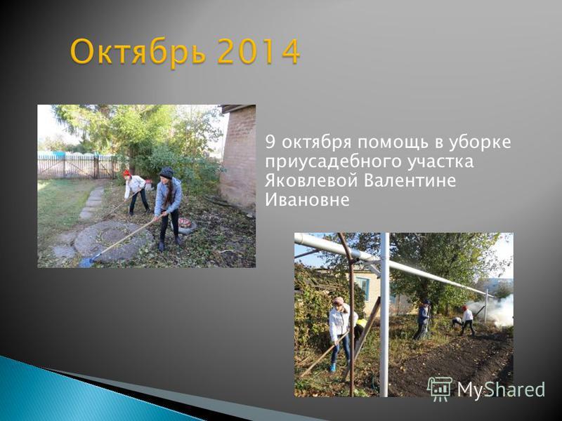 9 октября помощь в уборке приусадебного участка Яковлевой Валентине Ивановне