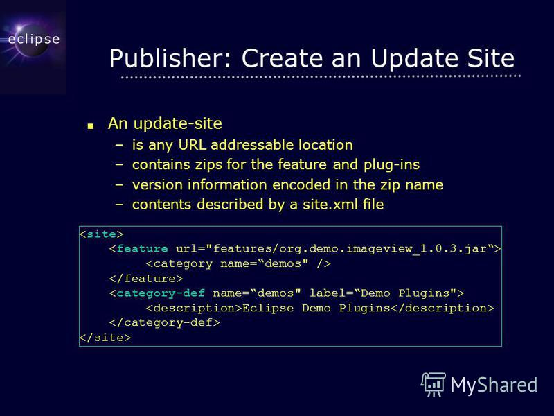 Publisher: Create an Update Site An update-site An update-site –is any URL addressable location –contains zips for the feature and plug-ins –version information encoded in the zip name –contents described by a site.xml file Eclipse Demo Plugins