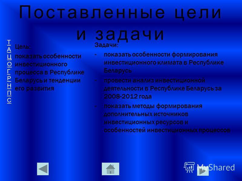 ТАЦОГРНПСТАЦОГРНПС Поставленные цели и задачи Цель: показать особенности инвестиционного процесса в Республике Беларусь и тенденции его развития Задачи: -показать особенности формирования инвестиционного климата в Республике Беларусь -провести анализ