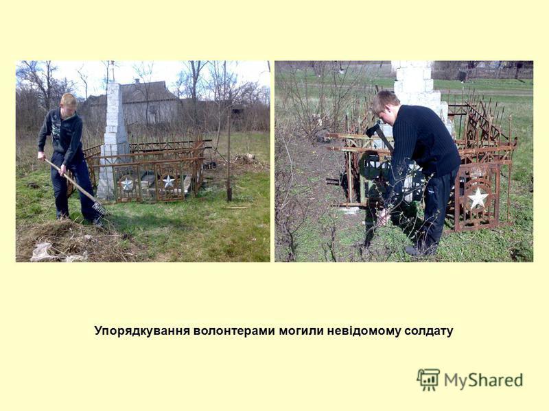 Упорядкування волонтерами могили невідомому солдату