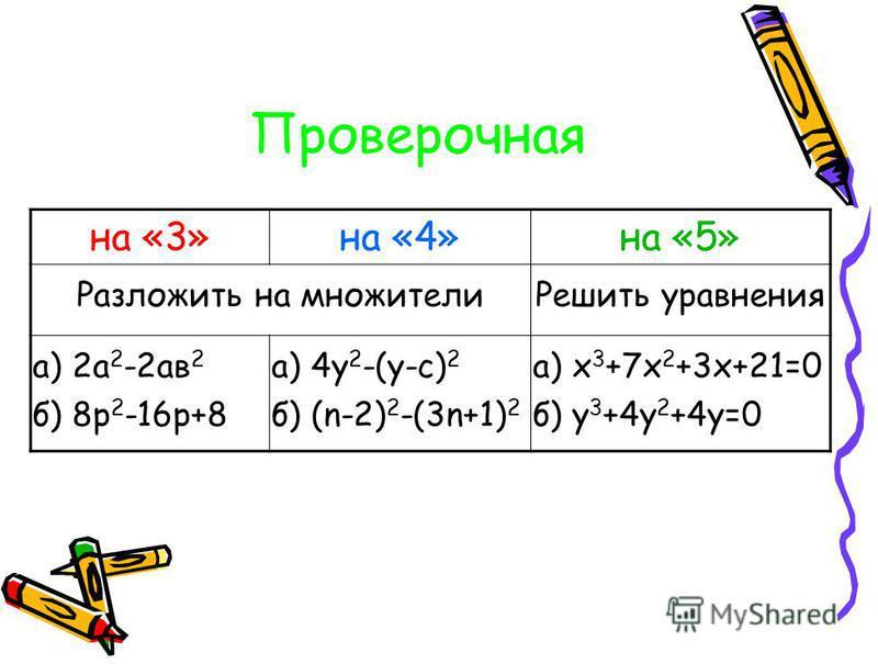 Проверочная на «3»на «4»на «5» Разложить на множители Решить уравнения а) 2 а 2 -2 ав 2 б) 8 р 2 -16 р+8 а) 4 у 2 -(у-с) 2 б) (n-2) 2 -(3n+1) 2 а) х 3 +7 х 2 +3 х+21=0 б) у 3 +4 у 2 +4 у=0