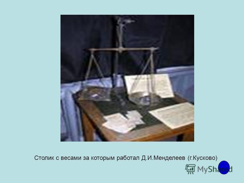 Столик с весами за которым работал Д.И.Менделеев (г.Кусково)
